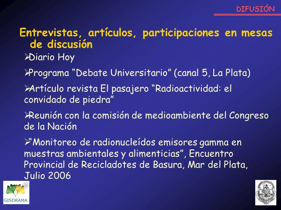 Entrevistas, artículos, participaciones en mesas de discusión Diario Hoy Programa Debate Universitario (canal 5, La Plata) Artículo revista El pasajer