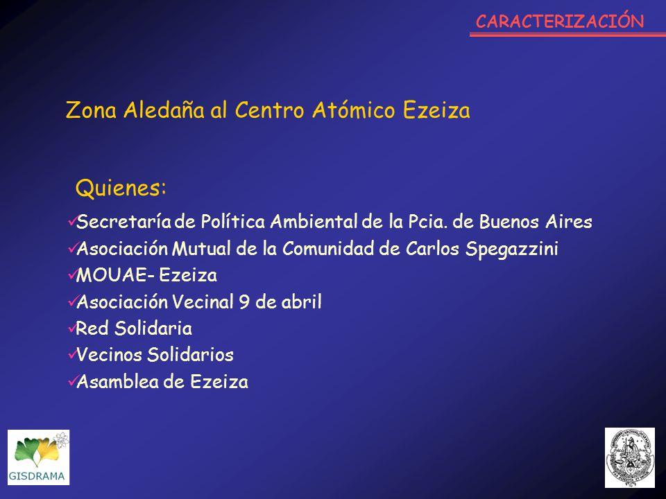 Secretaría de Política Ambiental de la Pcia. de Buenos Aires Asociación Mutual de la Comunidad de Carlos Spegazzini MOUAE- Ezeiza Asociación Vecinal 9