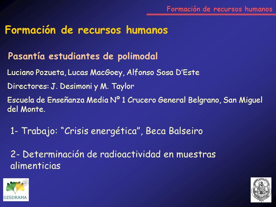 Formación de recursos humanos 1- Trabajo: Crisis energética, Beca Balseiro 2- Determinación de radioactividad en muestras alimenticias Luciano Pozueta
