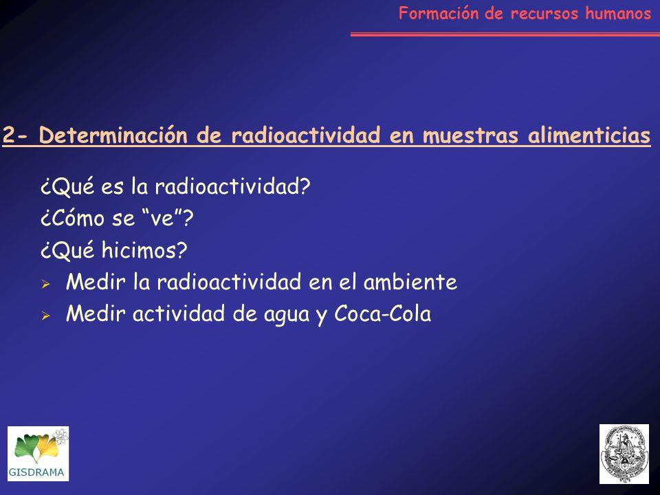 ¿Qué es la radioactividad? ¿Cómo se ve? ¿Qué hicimos? Medir la radioactividad en el ambiente Medir actividad de agua y Coca-Cola 2- Determinación de r