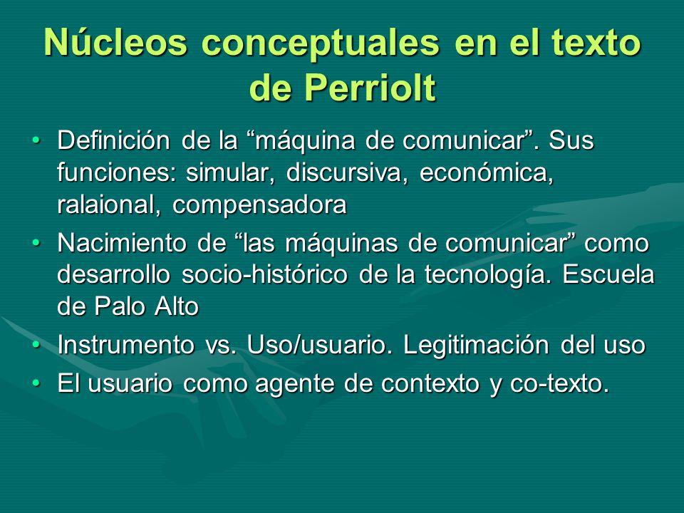 Núcleos conceptuales en el texto de Perriolt Definición de la máquina de comunicar. Sus funciones: simular, discursiva, económica, ralaional, compensa