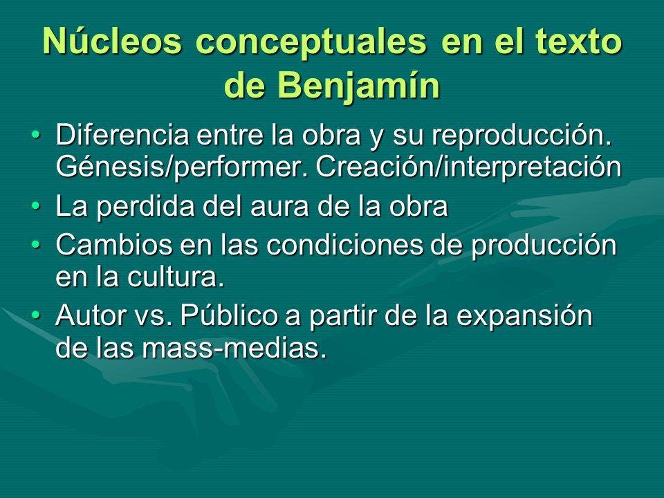 Núcleos conceptuales en el texto de Benjamín Diferencia entre la obra y su reproducción. Génesis/performer. Creación/interpretaciónDiferencia entre la