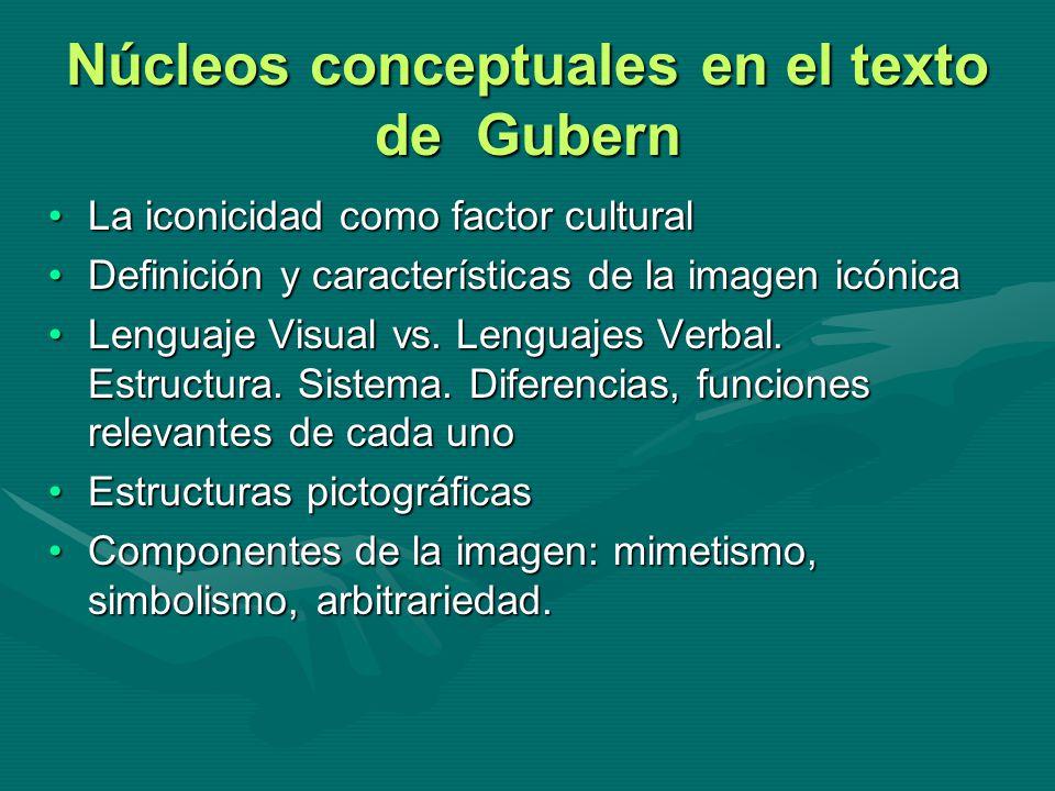 Núcleos conceptuales en el texto de Gubern La iconicidad como factor culturalLa iconicidad como factor cultural Definición y características de la ima