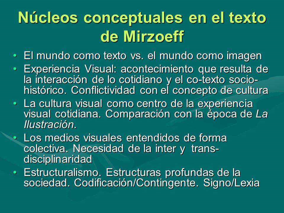 Núcleos conceptuales en el texto de Mirzoeff El mundo como texto vs. el mundo como imagenEl mundo como texto vs. el mundo como imagen Experiencia Visu