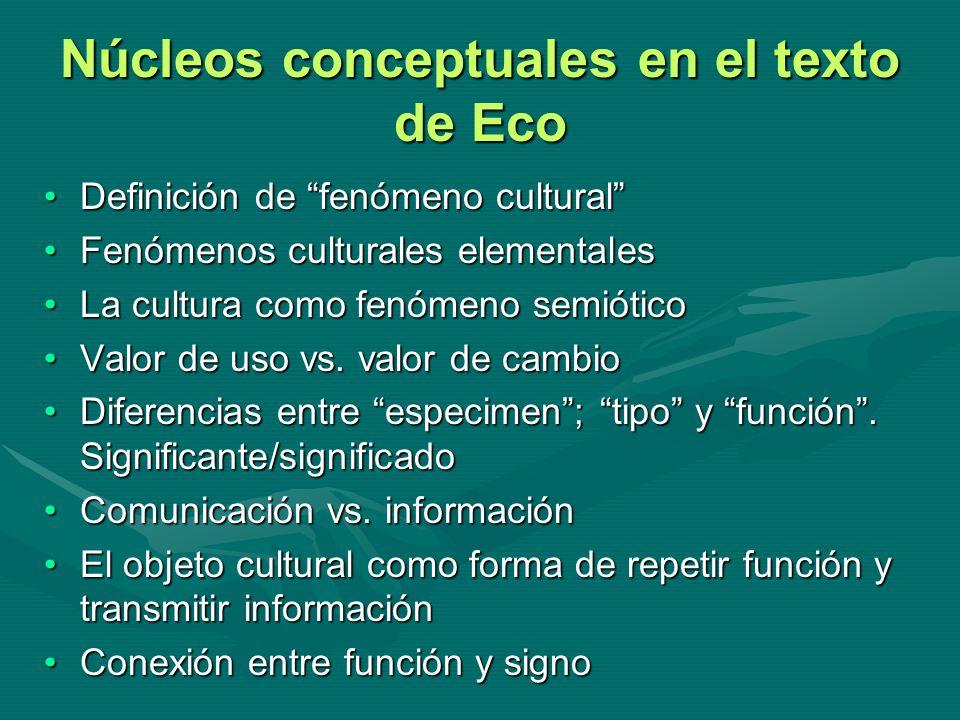 Núcleos conceptuales en el texto de Eco Definición de fenómeno culturalDefinición de fenómeno cultural Fenómenos culturales elementalesFenómenos cultu