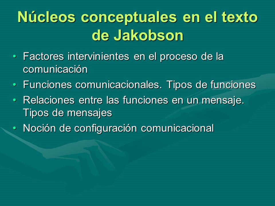 Núcleos conceptuales en el texto de Jakobson Factores intervinientes en el proceso de la comunicaciónFactores intervinientes en el proceso de la comun