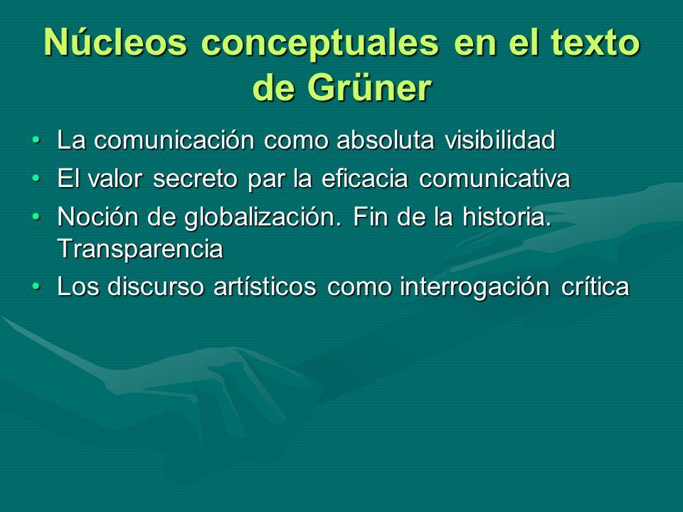Núcleos conceptuales en el texto de Grüner La comunicación como absoluta visibilidadLa comunicación como absoluta visibilidad El valor secreto par la