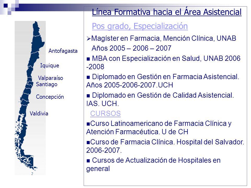 Santiago Concepción Valdivia Valparaíso Iquique Antofagasta Línea Formativa hacia el Área Asistencial Pos grado, Especialización Magíster en Farmacia,