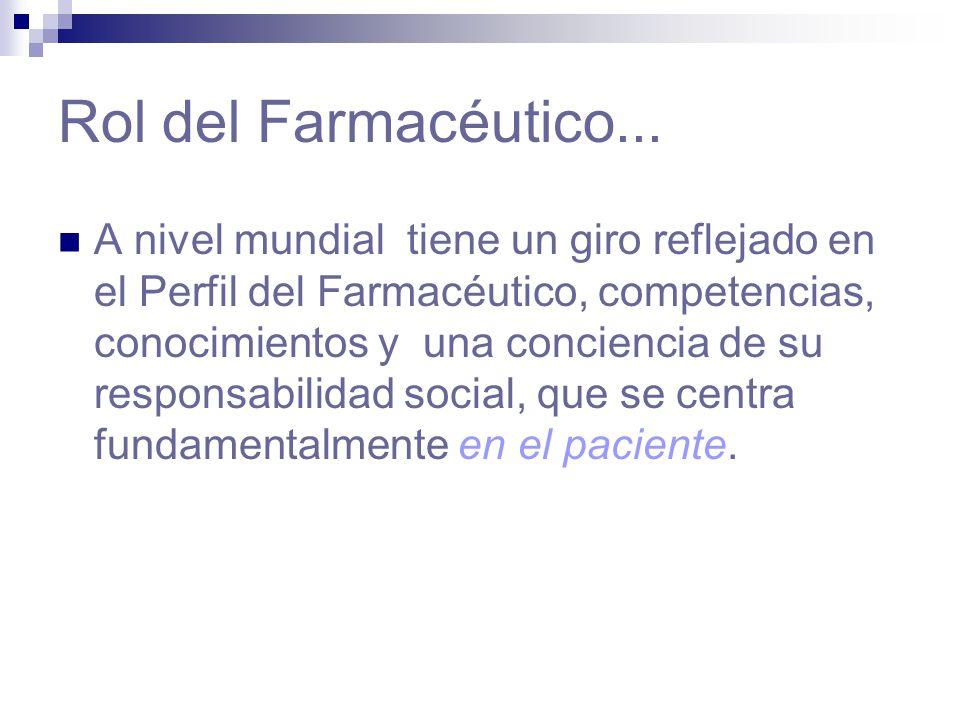 Rol del Farmacéutico... A nivel mundial tiene un giro reflejado en el Perfil del Farmacéutico, competencias, conocimientos y una conciencia de su resp