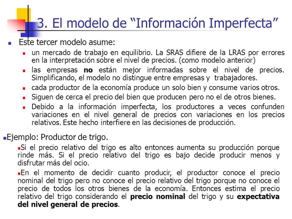 3. El modelo de Información Imperfecta Este tercer modelo asume: un mercado de trabajo en equilibrio. La SRAS difiere de la LRAS por errores en la int