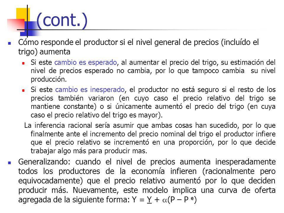 (cont.) Cómo responde el productor si el nivel general de precios (incluído el trigo) aumenta Si este cambio es esperado, al aumentar el precio del tr