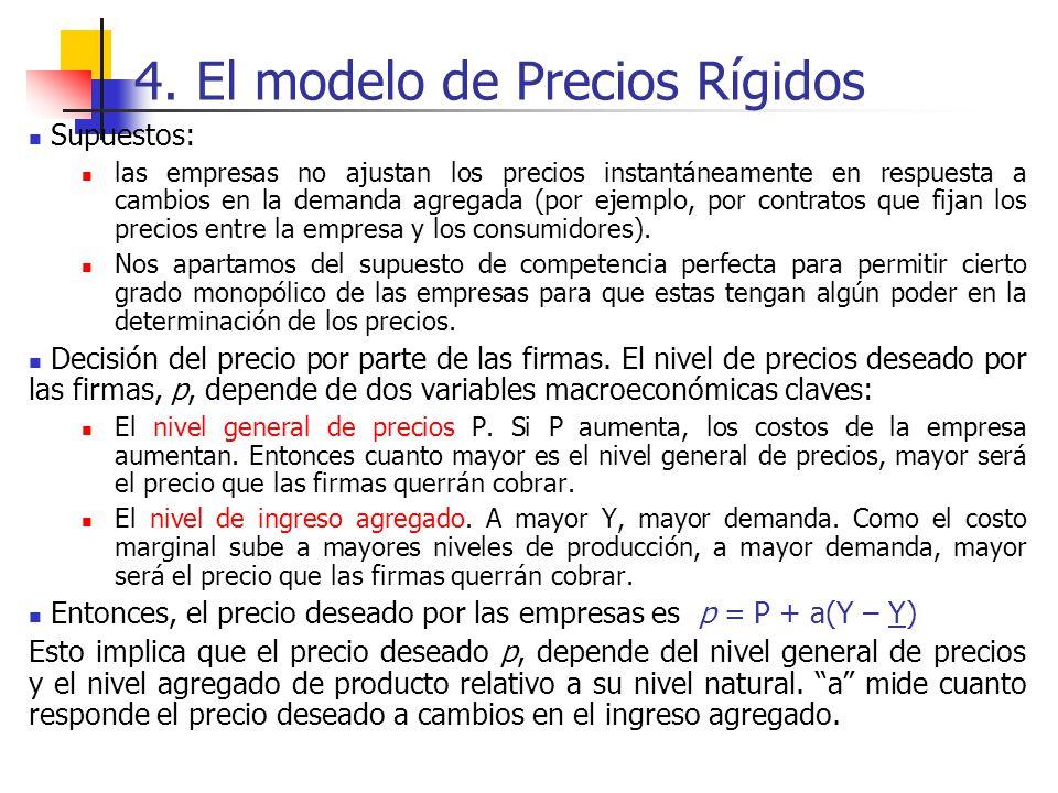 4. El modelo de Precios Rígidos Supuestos: las empresas no ajustan los precios instantáneamente en respuesta a cambios en la demanda agregada (por eje