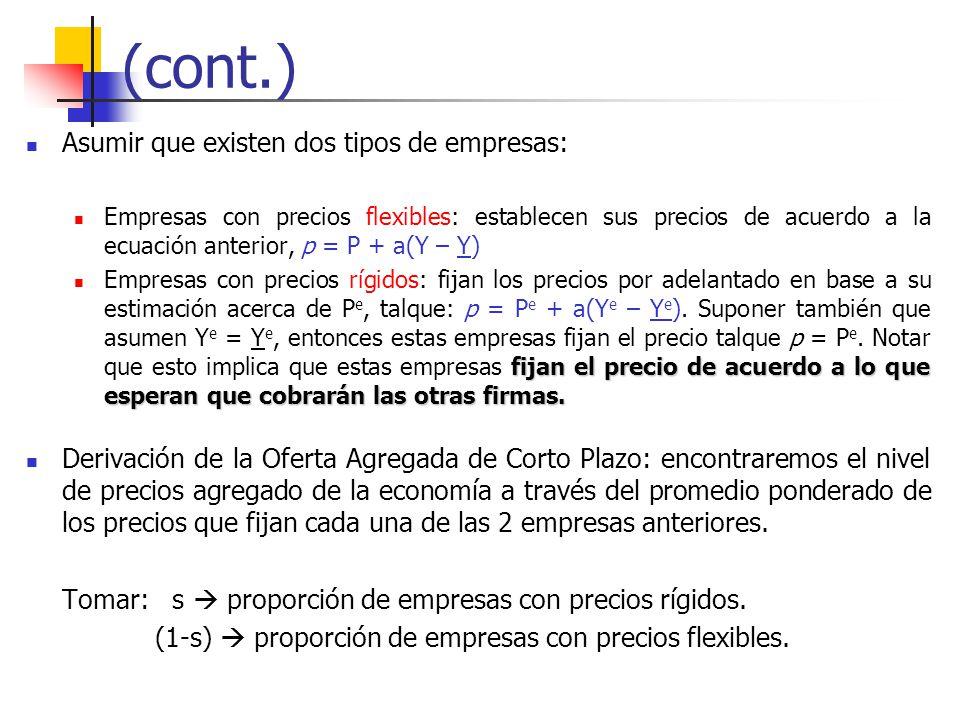 (cont.) Asumir que existen dos tipos de empresas: Empresas con precios flexibles: establecen sus precios de acuerdo a la ecuación anterior, p = P + a(