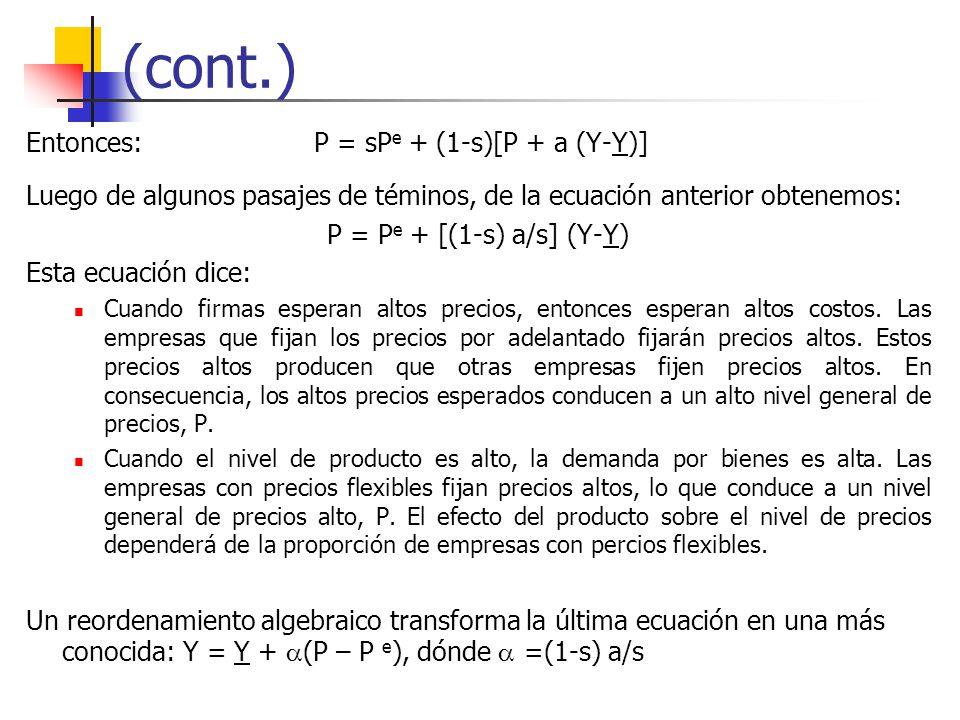 (cont.) Entonces: P = sP e + (1-s)[P + a (Y-Y)] Luego de algunos pasajes de téminos, de la ecuación anterior obtenemos: P = P e + [(1-s) a/s] (Y-Y) Es