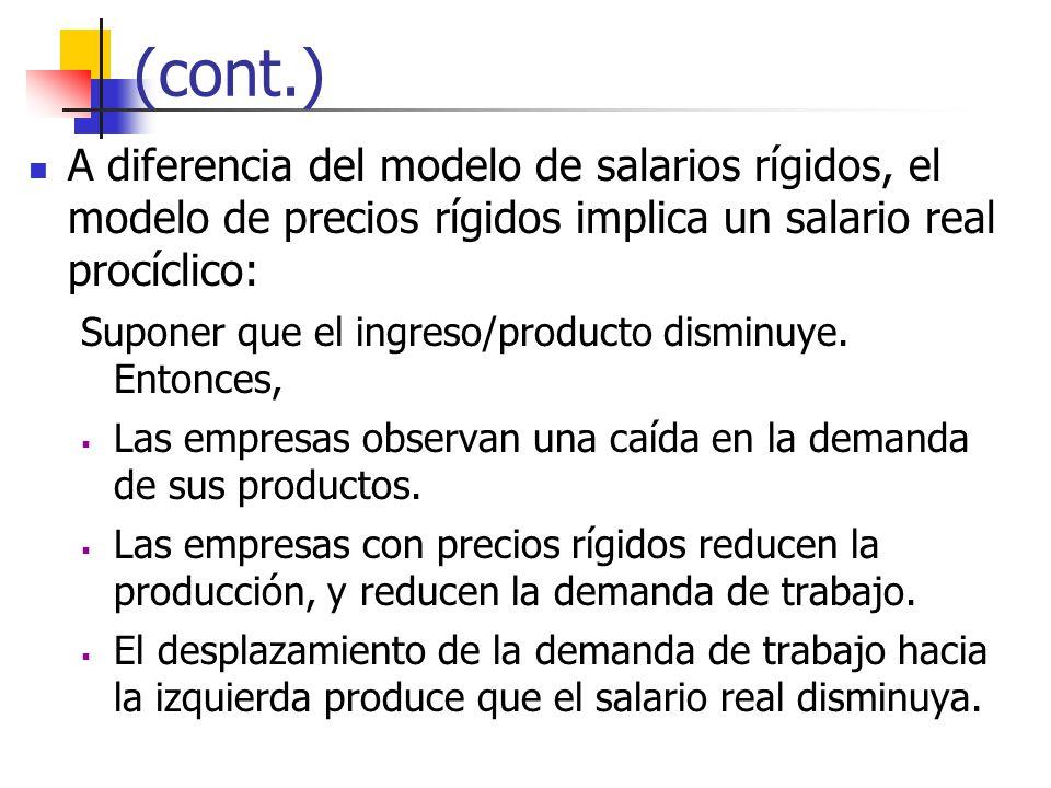 (cont.) A diferencia del modelo de salarios rígidos, el modelo de precios rígidos implica un salario real procíclico: Suponer que el ingreso/producto