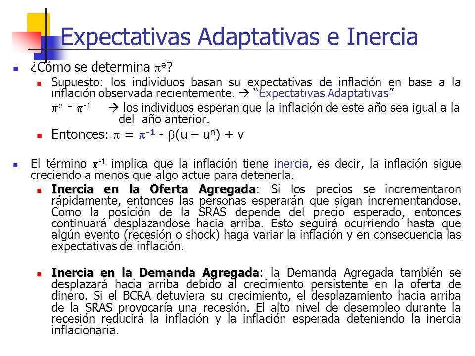 Expectativas Adaptativas e Inercia ¿Cómo se determina e ? Supuesto: los individuos basan su expectativas de inflación en base a la inflación observada