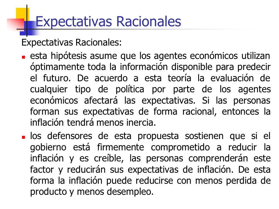 Expectativas Racionales Expectativas Racionales: esta hipótesis asume que los agentes económicos utilizan óptimamente toda la información disponible p