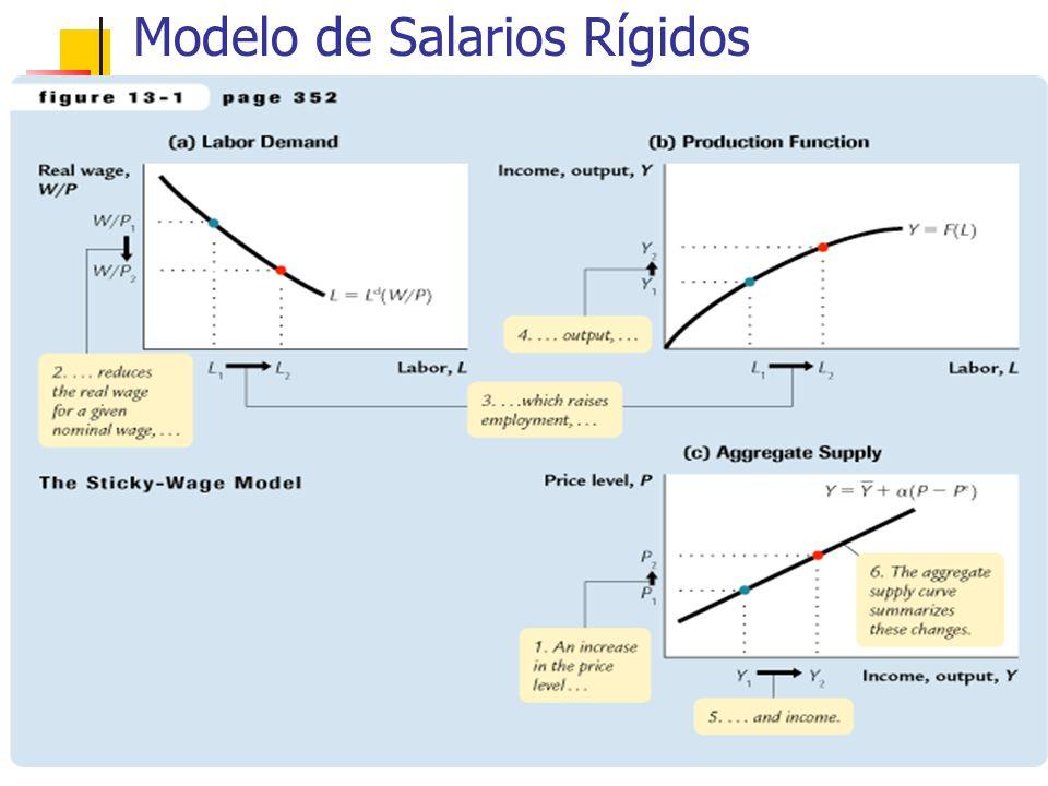 (cont.) Modelo Salarios Rígidos Implica que el salario real es contracíclico, se mueve en dirección opuesta al producto durante los ciclos económicos: En booms, cuando P sube, el salario real debería disminuir.