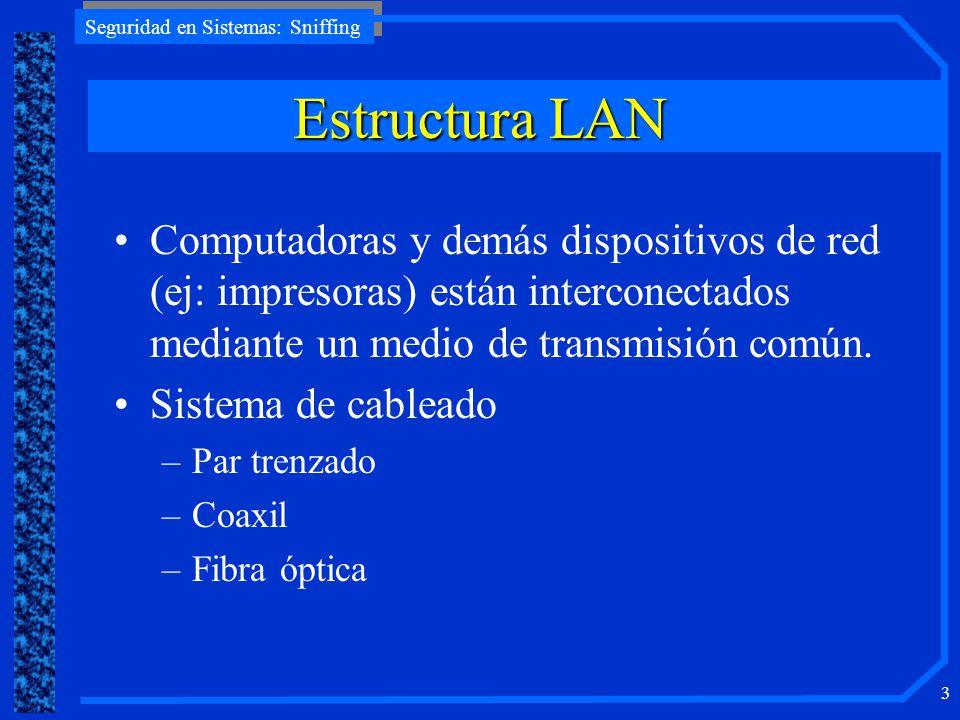 Seguridad en Sistemas: Sniffing 3 EstructuraLAN Estructura LAN Computadoras y demás dispositivos de red (ej: impresoras) están interconectados mediant