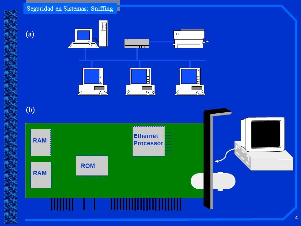 Seguridad en Sistemas: Sniffing 25 DeteccióndeQuietSniffers Detección de Quiet Sniffers Propiedades –Recolectar datos únicamente –No responder ni generar nuevo tráfico Requiere chequeo físico –Conexiones Ethernet –Chequear la configuración de la NIC ej.