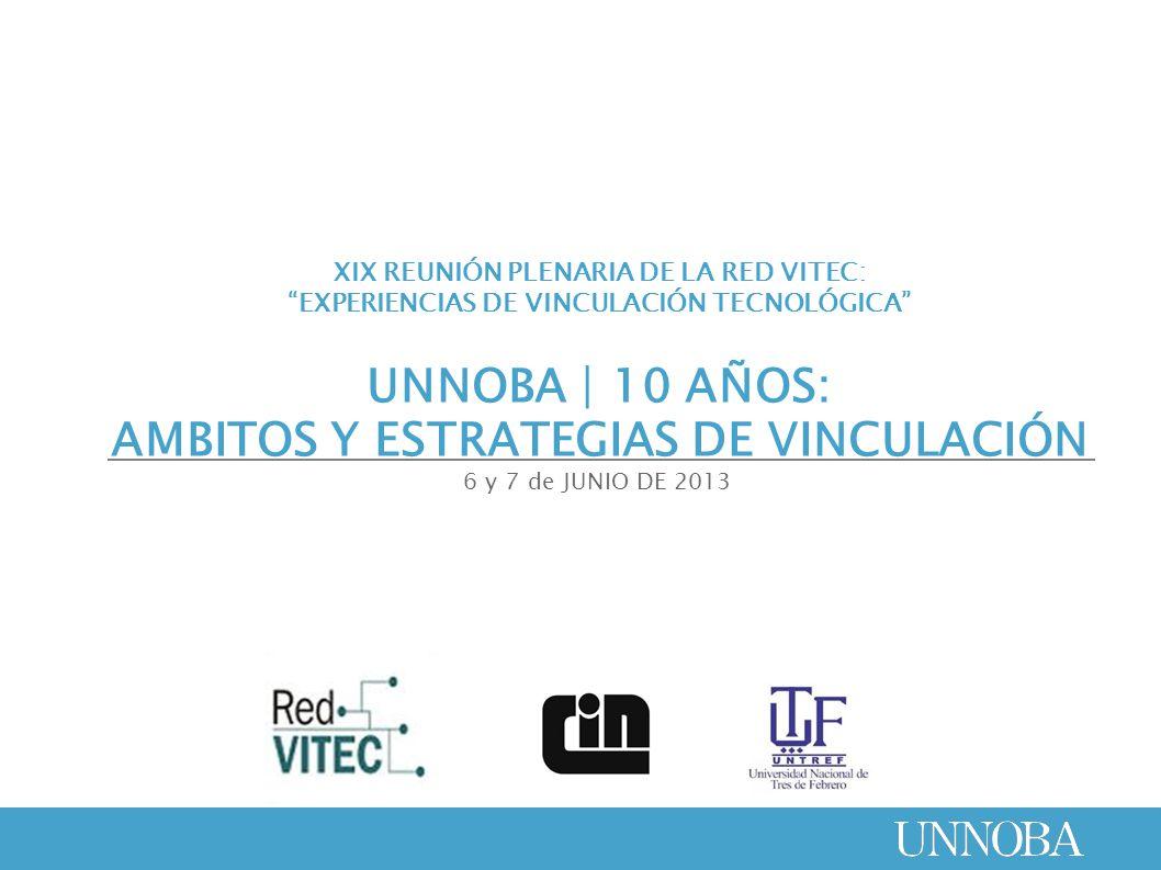 XIX REUNIÓN PLENARIA DE LA RED VITEC: EXPERIENCIAS DE VINCULACIÓN TECNOLÓGICA UNNOBA | 10 AÑOS: AMBITOS Y ESTRATEGIAS DE VINCULACIÓN 6 y 7 de JUNIO DE 2013