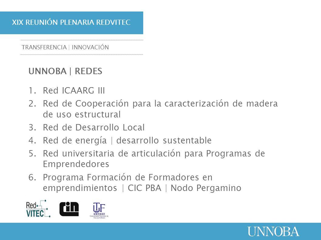 XIX REUNIÓN PLENARIA REDVITEC TRANSFERENCIA | INNOVACIÓN UNNOBA | REDES 1.Red ICAARG III 2.Red de Cooperación para la caracterización de madera de uso