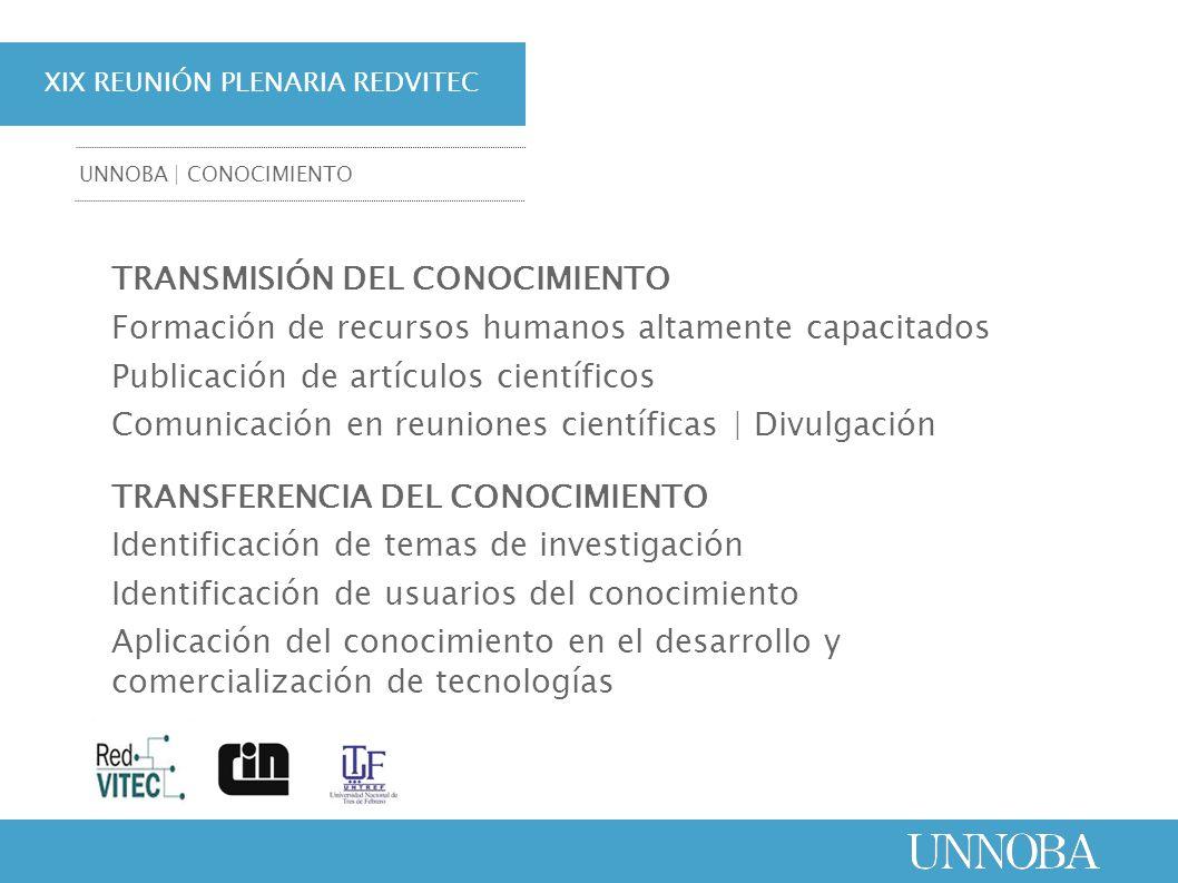 XIX REUNIÓN PLENARIA REDVITEC TRANSFERENCIA | INNOVACIÓN ARTICULACIONES INTERINSTITUCIONALES: 1.