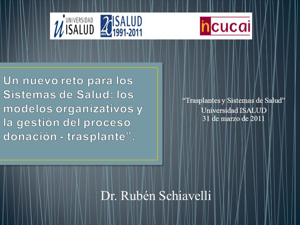 Trasplantes y Sistemas de Salud Universidad ISALUD 31 de marzo de 2011 Dr. Rubén Schiavelli