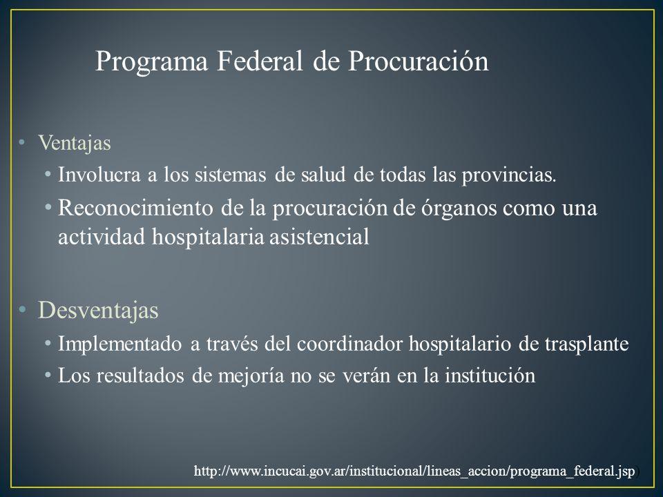 Ventajas Involucra a los sistemas de salud de todas las provincias. Reconocimiento de la procuración de órganos como una actividad hospitalaria asiste