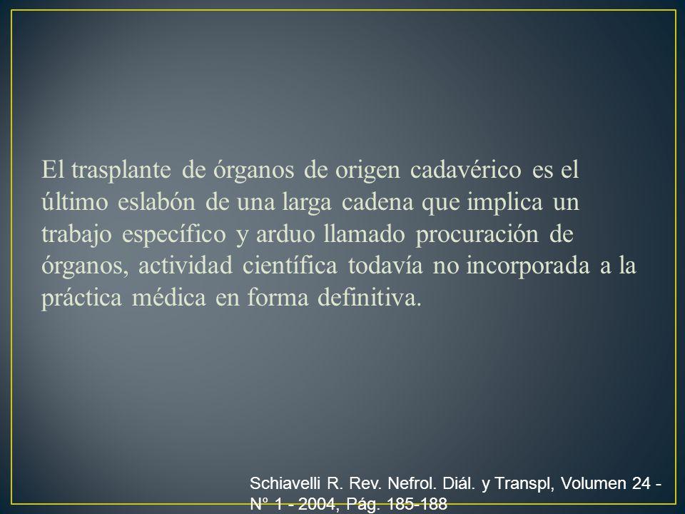 El trasplante de órganos de origen cadavérico es el último eslabón de una larga cadena que implica un trabajo específico y arduo llamado procuración de órganos, actividad científica todavía no incorporada a la práctica médica en forma definitiva.