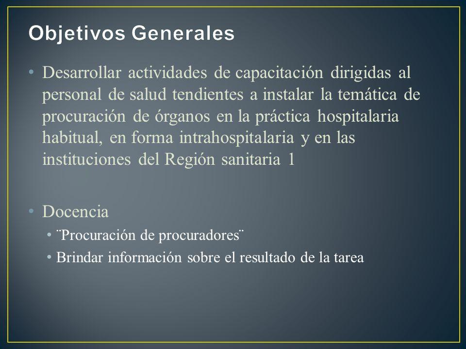Desarrollar actividades de capacitación dirigidas al personal de salud tendientes a instalar la temática de procuración de órganos en la práctica hosp