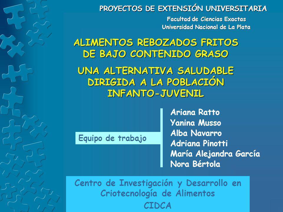 PROYECTOS DE EXTENSIÓN UNIVERSITARIA Facultad de Ciencias Exactas Universidad Nacional de La Plata Ariana Ratto Yanina Musso Alba Navarro Adriana Pino