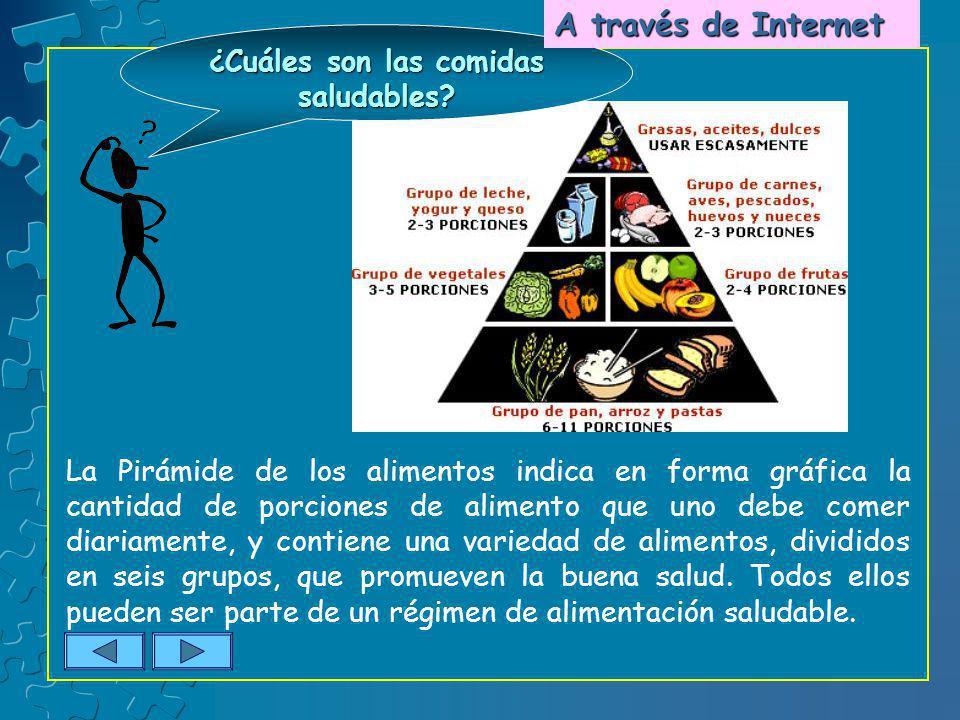 ¿Cuáles son las comidas saludables? La Pirámide de los alimentos indica en forma gráfica la cantidad de porciones de alimento que uno debe comer diari