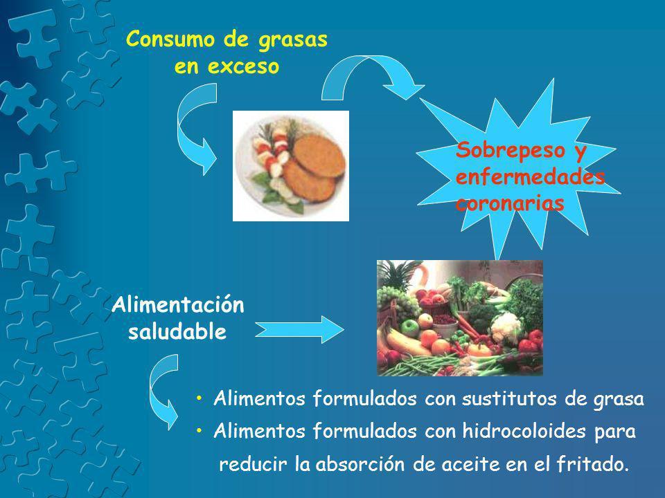 Consumo de grasas en exceso Sobrepeso y enfermedades coronarias Alimentación saludable Alimentos formulados con sustitutos de grasa Alimentos formulad