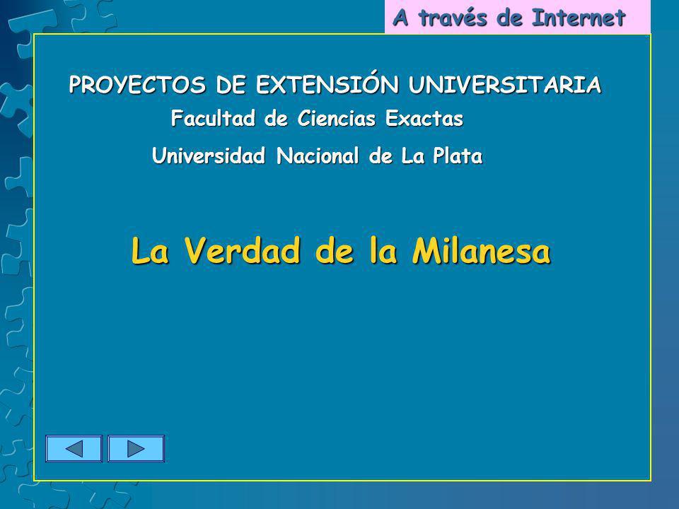 PROYECTOS DE EXTENSIÓN UNIVERSITARIA Facultad de Ciencias Exactas Universidad Nacional de La Plata La Verdad de la Milanesa A través de Internet