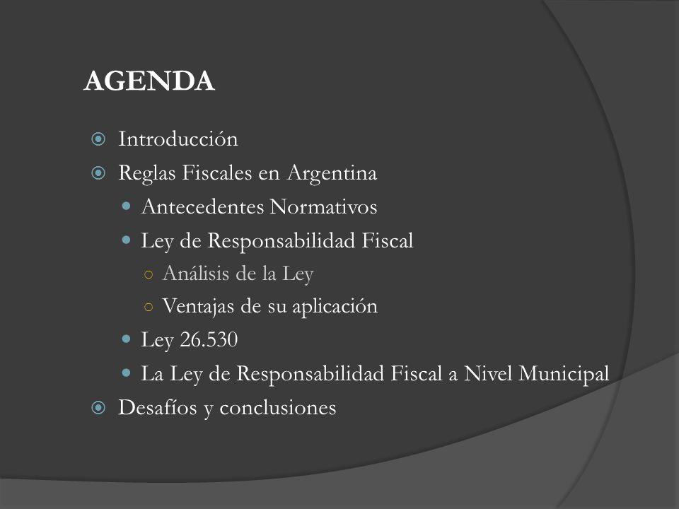 Reglas Fiscales Introducción Desafíos y Conclusiones Ley de Responsabilidad Fiscal Endeudamiento La LRF amplía el marco del control de endeudamiento, que actualmente incluye: La emisión y colocación de títulos, bonos u obligaciones.
