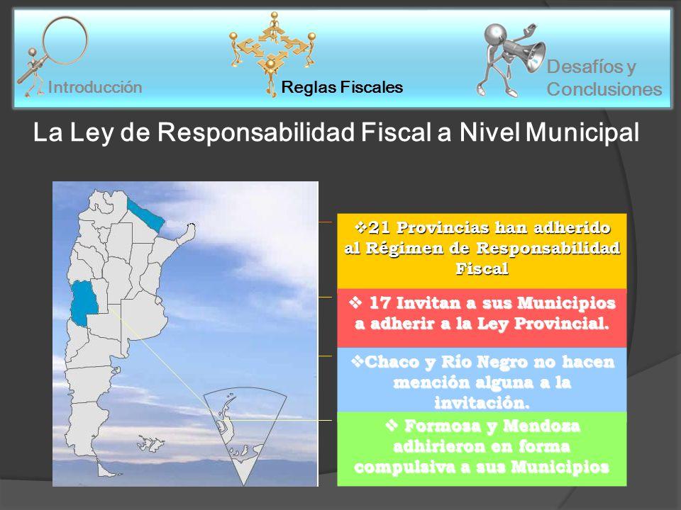 21 Provincias han adherido al Régimen de Responsabilidad Fiscal 21 Provincias han adherido al Régimen de Responsabilidad Fiscal 17 Invitan a sus Municipios a adherir a la Ley Provincial.