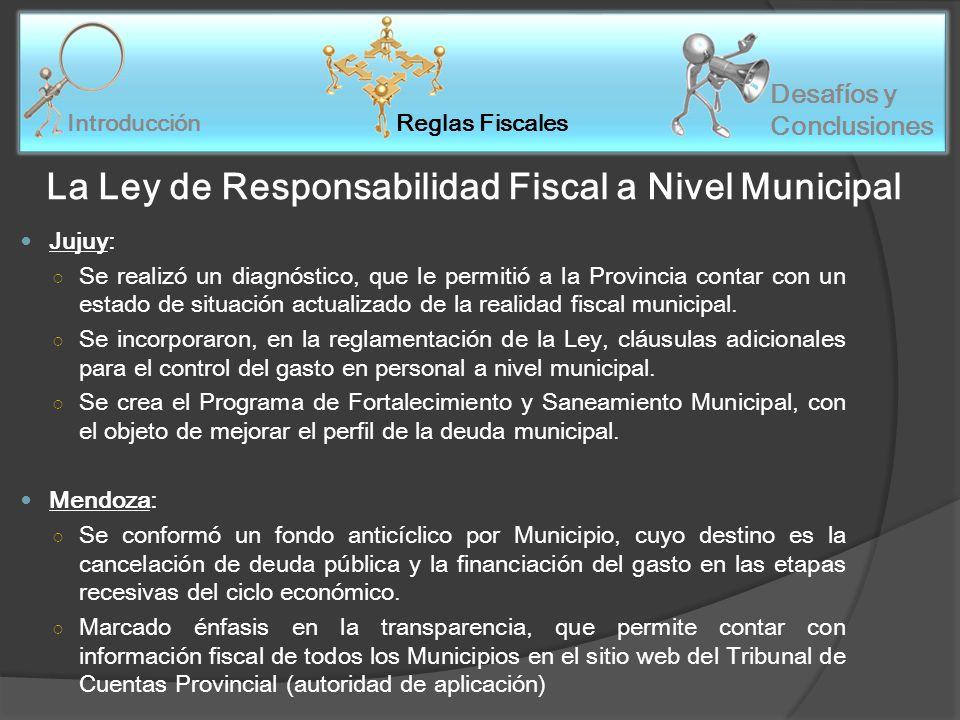 Reglas Fiscales Introducción Desafíos y Conclusiones La Ley de Responsabilidad Fiscal a Nivel Municipal Jujuy: Se realizó un diagnóstico, que le permitió a la Provincia contar con un estado de situación actualizado de la realidad fiscal municipal.