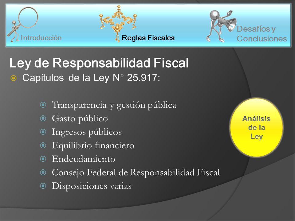 Reglas Fiscales Introducción Desafíos y Conclusiones Ley de Responsabilidad Fiscal Capítulos de la Ley N° 25.917: Transparencia y gestión pública Gasto público Ingresos públicos Equilibrio financiero Endeudamiento Consejo Federal de Responsabilidad Fiscal Disposiciones varias