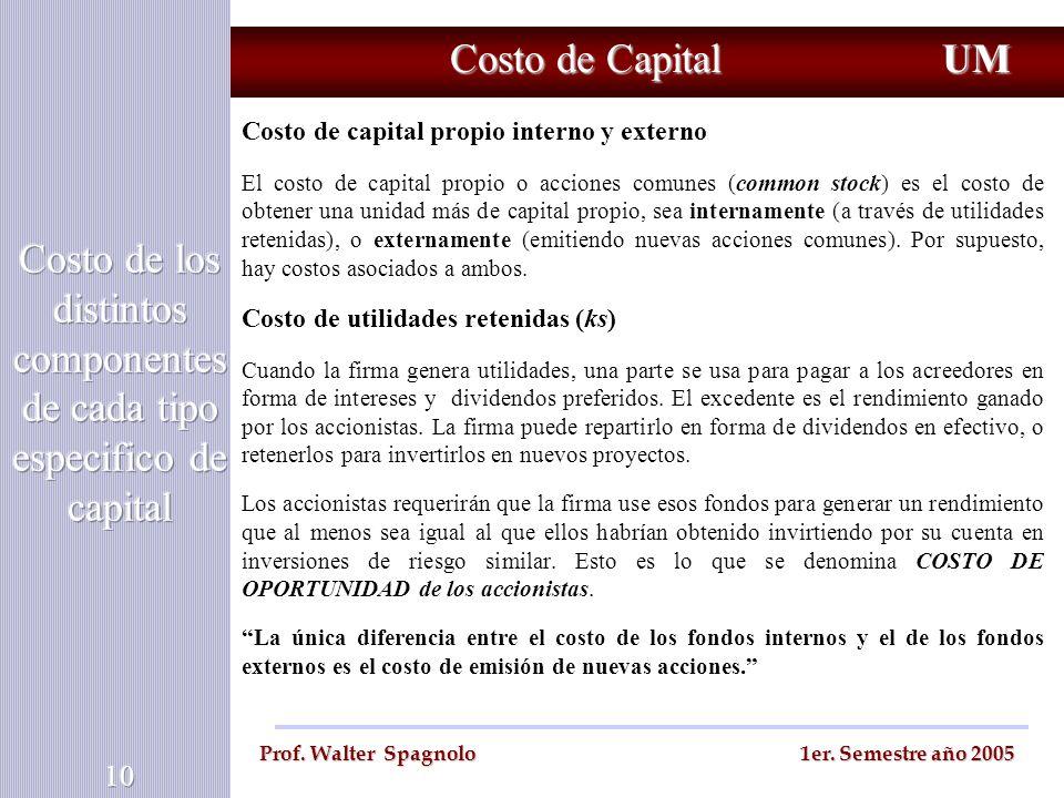 Costo de Capital UM Prof. Walter Spagnolo 1er. Semestre año 2005 Costo de capital propio interno y externo El costo de capital propio o acciones comun