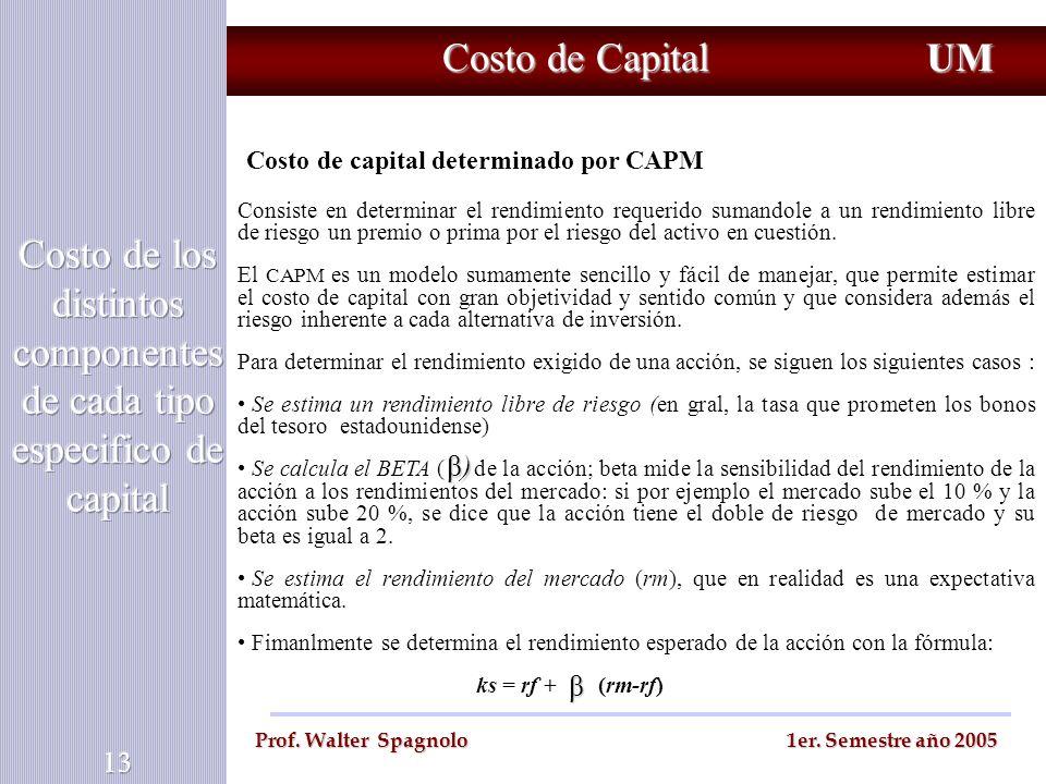 Costo de Capital UM Prof. Walter Spagnolo 1er. Semestre año 2005 Costo de capital determinado por CAPM Consiste en determinar el rendimiento requerido