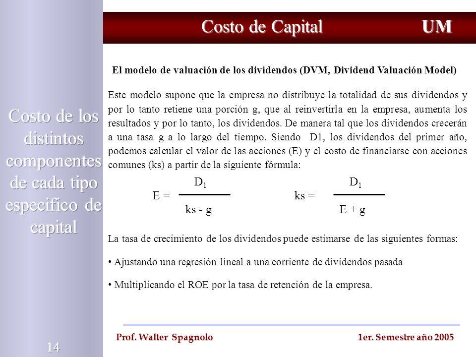 Costo de Capital UM Prof. Walter Spagnolo 1er. Semestre año 2005 El modelo de valuación de los dividendos (DVM, Dividend Valuación Model) Este modelo