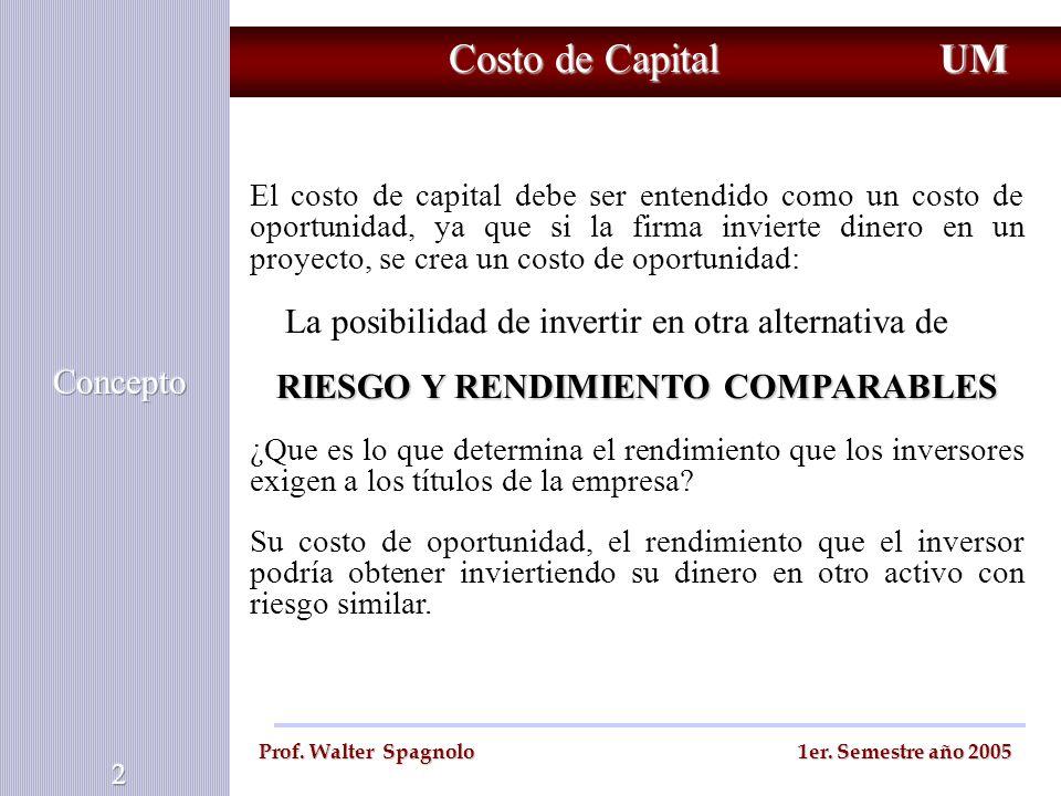 Costo de Capital UM Prof. Walter Spagnolo 1er. Semestre año 2005 El costo de capital debe ser entendido como un costo de oportunidad, ya que si la fir