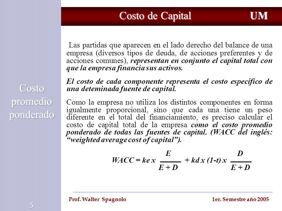 Costo de Capital UM Prof. Walter Spagnolo 1er. Semestre año 2005 Las partidas que aparecen en el lado derecho del balance de una empresa (diversos tip