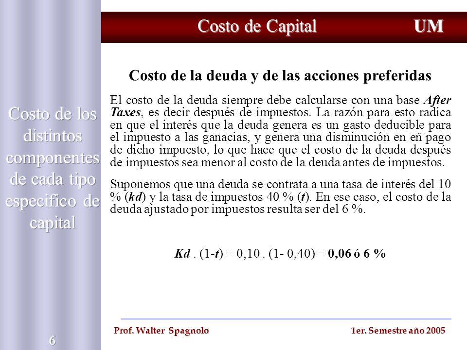 Costo de Capital UM Prof. Walter Spagnolo 1er. Semestre año 2005 Costo de la deuda y de las acciones preferidas El costo de la deuda siempre debe calc