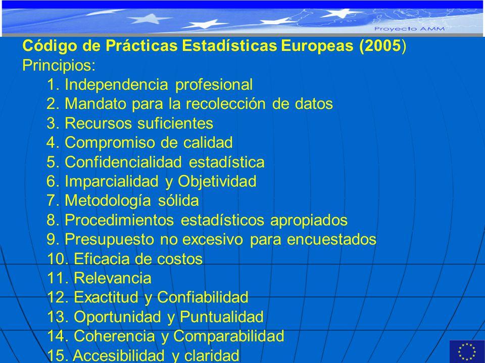 Código de Prácticas Estadísticas Europeas (2005) Principios: 1.Independencia profesional 2.Mandato para la recolección de datos 3.Recursos suficientes 4.Compromiso de calidad 5.Confidencialidad estadística 6.Imparcialidad y Objetividad 7.Metodología sólida 8.Procedimientos estadísticos apropiados 9.Presupuesto no excesivo para encuestados 10.