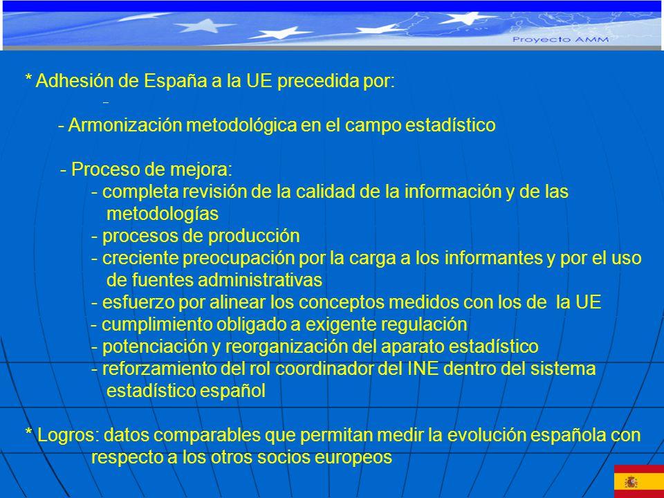 * Adhesión de España a la UE precedida por: - Armonización metodológica en el campo estadístico - Proceso de mejora: - completa revisión de la calidad de la información y de las metodologías - procesos de producción - creciente preocupación por la carga a los informantes y por el uso de fuentes administrativas - esfuerzo por alinear los conceptos medidos con los de la UE - cumplimiento obligado a exigente regulación - potenciación y reorganización del aparato estadístico - reforzamiento del rol coordinador del INE dentro del sistema estadístico español * Logros: datos comparables que permitan medir la evolución española con respecto a los otros socios europeos PROYECTO DE COOPERACIÓN TÉCNICA Y FINANCIERA CE-MERCOSUR: APOYO AL MONITOREO MACROECONÓMICO