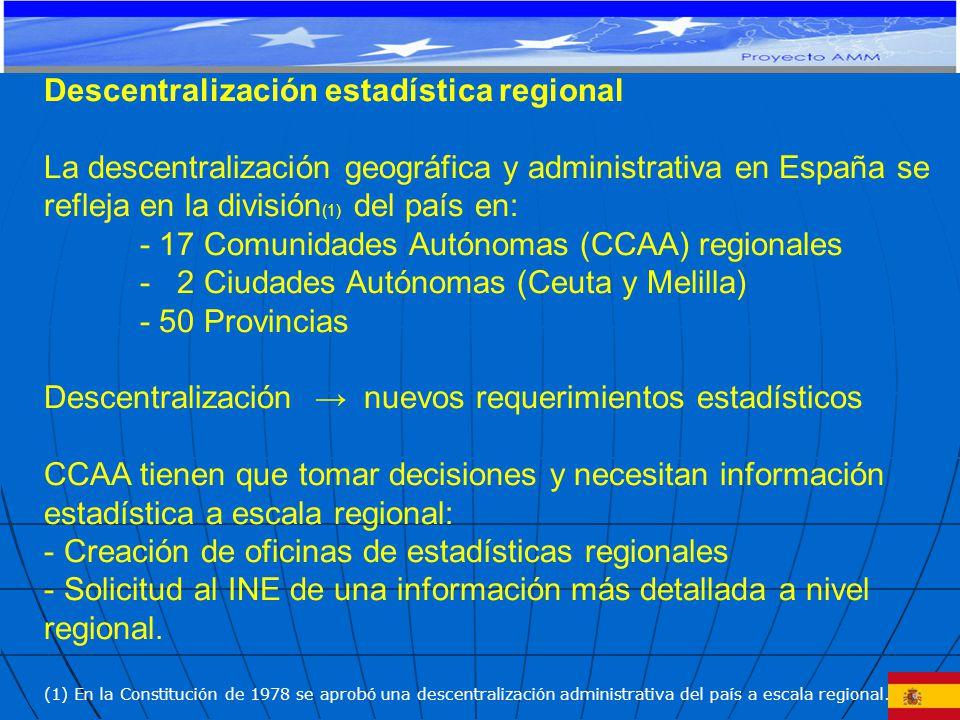 Descentralización estadística regional La descentralización geográfica y administrativa en España se refleja en la división (1) del país en: - 17 Comunidades Autónomas (CCAA) regionales - 2 Ciudades Autónomas (Ceuta y Melilla) - 50 Provincias Descentralización nuevos requerimientos estadísticos CCAA tienen que tomar decisiones y necesitan información estadística a escala regional: - Creación de oficinas de estadísticas regionales - Solicitud al INE de una información más detallada a nivel regional.