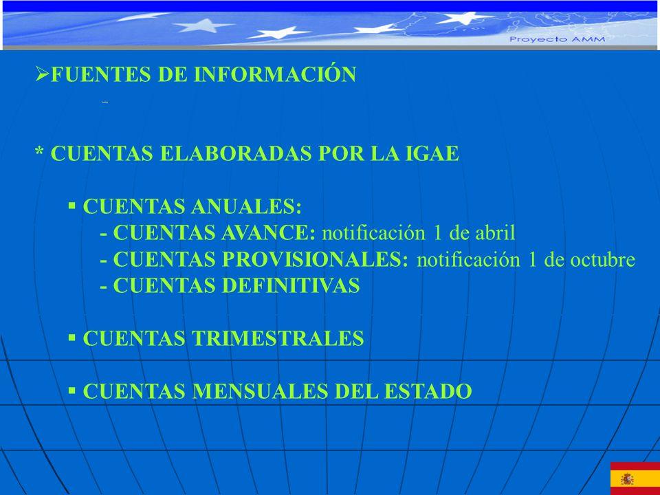 FUENTES DE INFORMACIÓN * CUENTAS ELABORADAS POR LA IGAE CUENTAS ANUALES: - CUENTAS AVANCE: notificación 1 de abril - CUENTAS PROVISIONALES: notificación 1 de octubre - CUENTAS DEFINITIVAS CUENTAS TRIMESTRALES CUENTAS MENSUALES DEL ESTADO