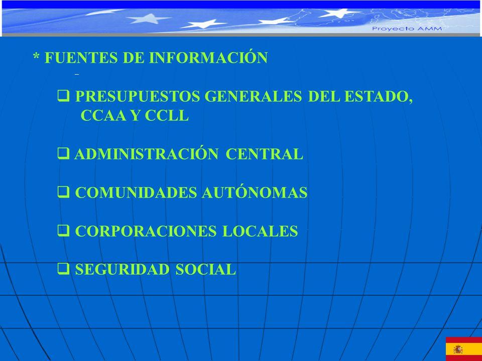 * FUENTES DE INFORMACIÓN PRESUPUESTOS GENERALES DEL ESTADO, CCAA Y CCLL ADMINISTRACIÓN CENTRAL COMUNIDADES AUTÓNOMAS CORPORACIONES LOCALES SEGURIDAD SOCIAL